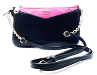 Victoria's Secret Black and Pink Over Shoulder Purse with Zipper