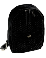 Victoria's Secret Black Velour Backpack with One Internal and One External Zippered Pockets