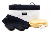 Victoria's Secret black and white Travel Bag with Exfoliating Gloves and Body Brush