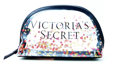 Victoria's Secret Clear Confetti Plastic Cosmetic Bag with Zipper
