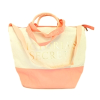 Victoria's Secret Canvas and Pink Insulated Cooler Tote Bag with Zipper