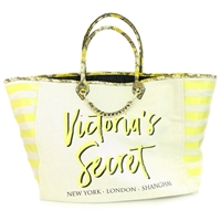 Victoria's Secret Canvas and Yellow Snake Print New York London Shanghai Tote