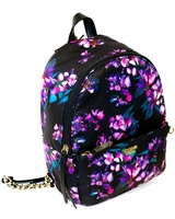 Victoria's Secret Mini Floral Backpack; Internal Pocket and External Zippered Pocket, Thin Adjustable Straps with Chain