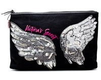 "Victoria's Secret Fashion Show Pouch; Sequined Angel Wings on Front with Heart Print on Back 11"" L x 3 1/4"" W x 7 1/2"" H"