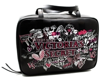 "Victoria's Secret Graffiti Jetsetter Travel Case;  2 Interior Zip Compartments Small Inner Zip Pocket, Hook   10 1/2"" L x 3½ "" W x 7 1/4"""
