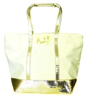 Victoria's Secret Gold Sparkle Tote with Zipper