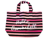 Victoria's Secret Hello, Bombshell Tote Beach Bag, Black Pink Stripe