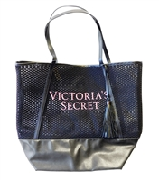 Victoria's Secret Large Black Mesh Tote with Tassel