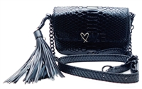 Victoria's Secret LOVE Black Over Shoulder Purse with Snap Closure
