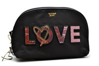 Victoria's Secret Love Cosmetic Bag Black Double Zip, Medium