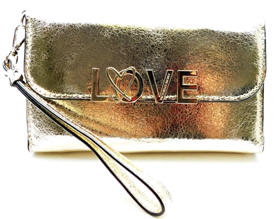 Victoria's Secret LOVE Gold Wrist Clutch Wallet with Snap Closure