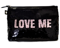 Victoria's Secret LOVE ME Black and Silver Sequin Zippered Bag with Loop for Optional Wristlet Strap