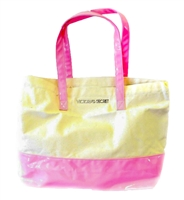 Victoria's Secret Large Neon Pink and Canvas Tote