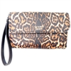 Victoria's Secret Leopard Print Clutch/Wallet with Wrist Strap and Snap Closing