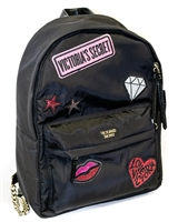 Victoria's Secret Medium Nylon Backpack; Zippered Internal and External  Pockets, Patch Design, Thin Adjustable Straps with Gold Tint Chrome Chain