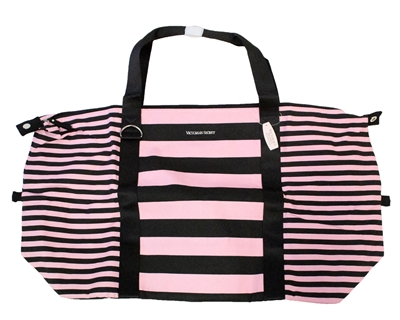 Victoria's Secret Large Weekender Duffel Bag, Black and Pink Stripe