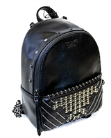 Victoria's Secret Mini Backpack; Internal Pocket and External Zippered Pocket, Square and Round Stud Design, Thin Adjustable Straps with Black Chain