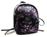 "Victoria's Secret MIDNIGHT BLOOM Mini Backpack; Internal Pocket and External Zippered Pocket, Fob with Lip Prints on front and ""Victoria's Secret"" on reverse side Thin Adjustable Straps with Gold Chain, 9.7"" x 3.8"" x 7.3"" ​"