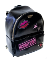 Victoria's Secret Mini Backpack; Internal Pocket and External Zippered Pocket, Lip, Stars and Heart Design, Thin Adjustable Straps with Gold Colored Chain