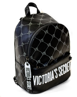 "Victoria's Secret Mini Backpack; Internal Pocket and External Zippered Pocket, Fob with Lip Prints on front and ""Victoria's Secret"" on reverse side Thin Adjustable Straps with Black Chain"