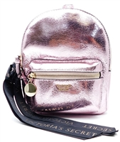 Victoria's Secret Metallic Pink Mini Backpack with Zippers