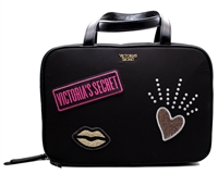 "Victoria's Secret  Patch Jetsetter Travel Makeup Case with Hook; 2 Interior Zip Compartments,  10 1/2"" L x 3 1/2"" W x 7 1/4"" H"