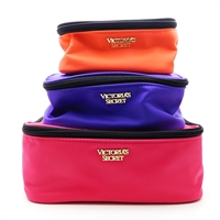 Victoria's Secret pink, purple, orange Stackable Makeup Bags