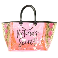 Victoria's Secret Pink Plastic and Snake Print New York London Shanghai Tote