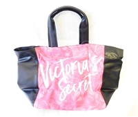 Victoria's Secret Pink Tie Dye Canvas Tote Bag with Black Trim