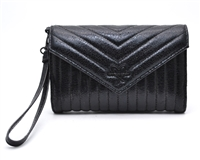 Victoria's Secret Shimmering Quilted Black Clutch/Wallet/Phone Case Purse with Wrist Strap