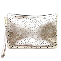 Victoria's Secret Rose Gold Laser Edge Cut Pouch Wristlet Purse with Zipper