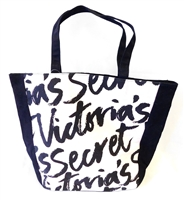 Victoria's Secret Signature Pink and Black Canvas Tote