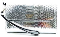Victoria's Secret Silver Wrist Clutch Wallet with Snap Closure