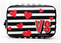 Victoria's Secret VS black and white striped with red hearts Cosmetic Bag