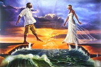 Stepping Out On Faith Love By WAK Kevin A. Williams  24x36 Black Art Print Poster African-American