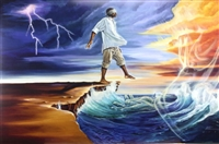 Stepping Out On Faith Man By WAK Kevin A. Williams  24x36  Black Art Print Poster African-American