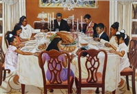 Together We Give Thanks Artist Kathrerine Roundtree  24x36 Art Print Poster African-american