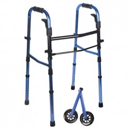 Blue Compact Folding Paddle Walker with Wheels