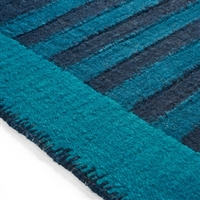 Elitis Ahora Nautilus.  Blue stripe linen and cotton runner rug.  Click for details and checkout >>