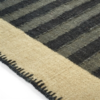 Elitis Ahora Dogon.  Tan and gray striped linen and cotton area rug.  Click for details and checkout >>