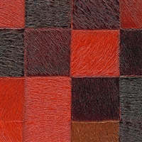 Elitis Indomptee VP 619 09.  Red multi color checker design faux fur embossed wallpaper.  Click for details and checkout >>