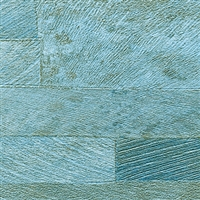 Elitis Nomades VP 893 41.  Reclaimed Aqua Blue Wood Plank Wallpaper. Click for details and checkout >>