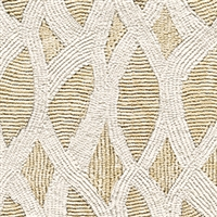 Elitis Perles VP 912 05.  Khaki lace embossed vinyl beaded wallpaper. Click for details and checkout >>