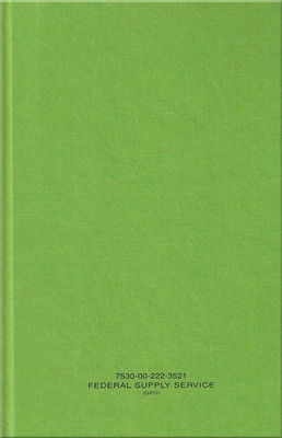 "Green Journal Notebook, 5-1/2"" X 8"", NSN 7530-00-222-3521"
