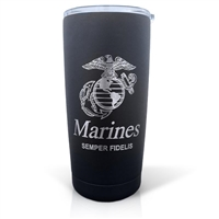 Marines Sempler Fidelis Laser Engraved Black Textured Powder Tumbler