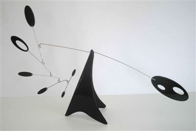 black modern mid-century modern style hanging tabletop mobile