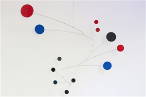 black, blue and red modern calder style hanging mobile