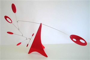 red mid-century modern hanging tabletop mobile