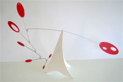 red and white mid-century modern hanging tabletop mobile