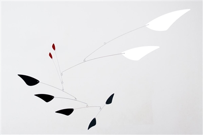 black, white and red mid-century modern hanging mobile